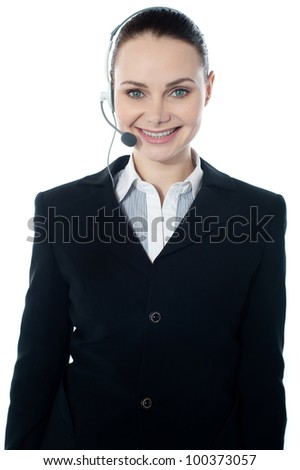 Woman wearing headsets, could be receptionist. Isolated over white