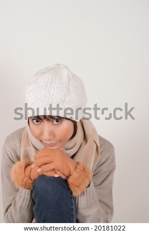 Woman wearing knit hat