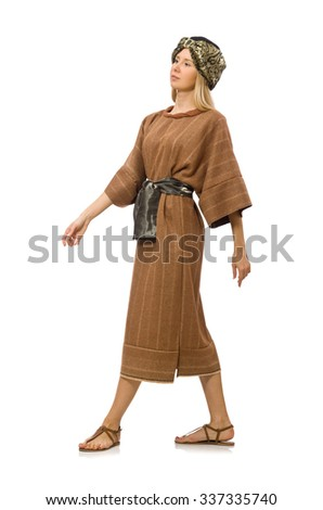 Woman wearing medieval arab clothing on white - stock photo