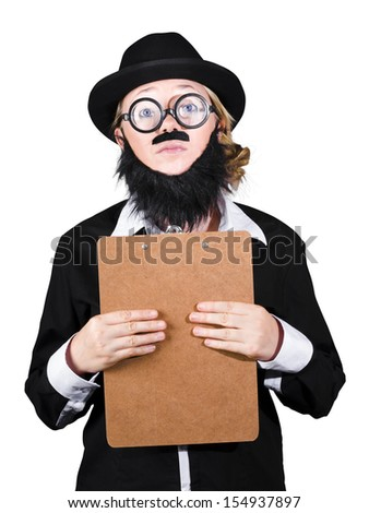 Woman Wearing Nerd Glasses Holding Clipboard On White Background