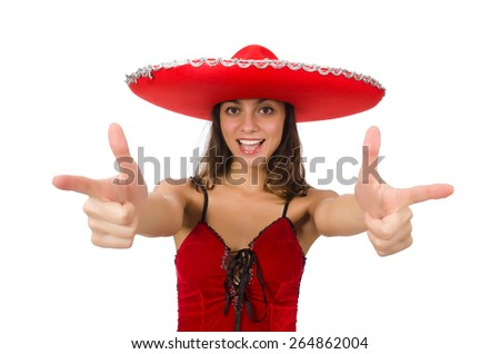 Woman wearing red sombrero isolated on white - stock photo