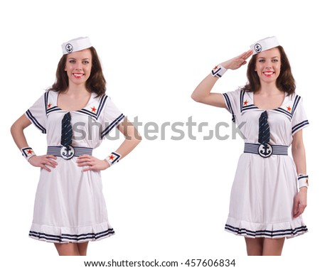 Woman wearing sailor suit isolated on white - stock photo