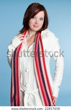 Woman Wearing Scarf - stock photo