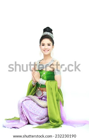 woman wearing typical thai dress with isolated on white background, identity culture of thailand - stock photo