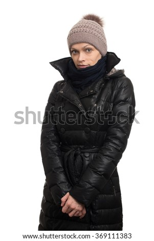 Woman wearing warm clothing isolated on white background
