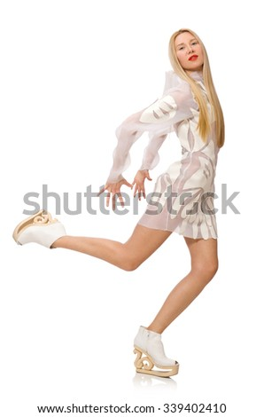 Woman wearing white dress isolated on white - stock photo