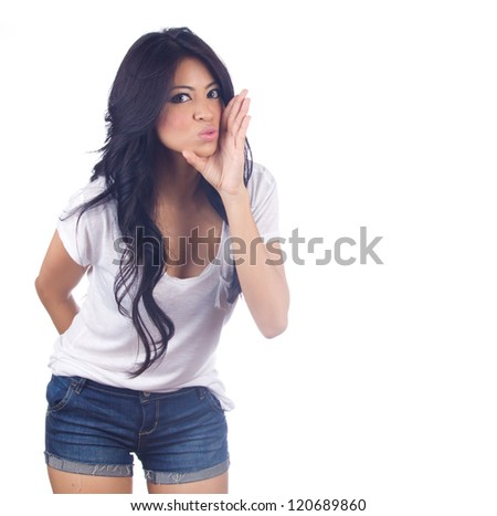Woman whispering  on white background - stock photo