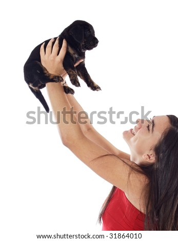 Woman whit her dog a over white background