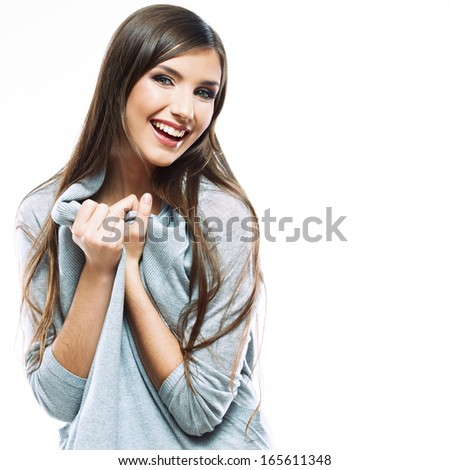 Woman white background isolated. female  model with long hair . smiling young woman - stock photo