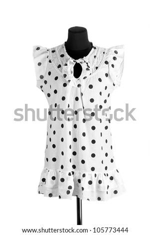 Woman white black polka dot dress on mannequin on white background - stock photo