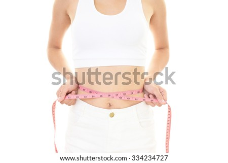 Woman who is measuring her waist