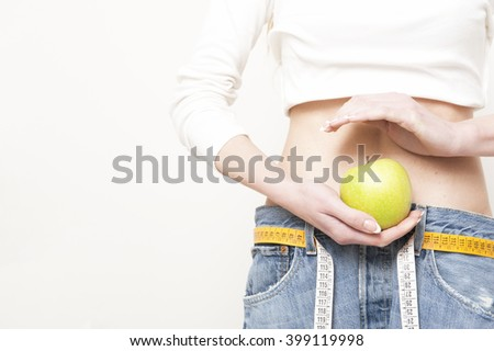 Woman who lost weight - stock photo