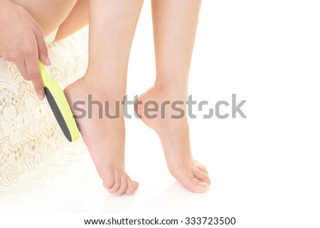 Woman who takes care of her feet