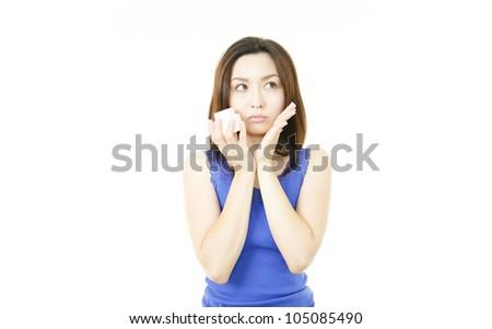 Woman who thinks - stock photo