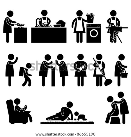 Woman Wife Mother Daily Routine People Icon Sign Symbol Pictogram - stock photo