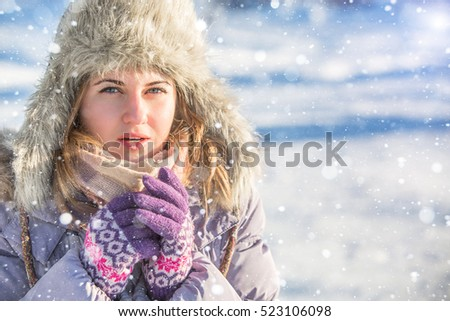 woman winter forest