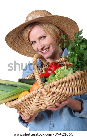 Woman with a basket of produce