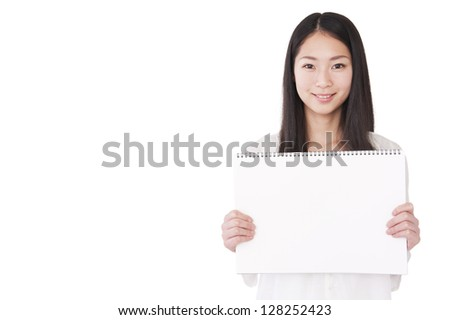 Woman with a blank sketchbook