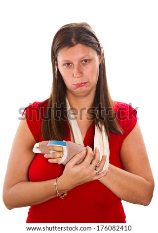 Woman  with a cast on finger - stock photo