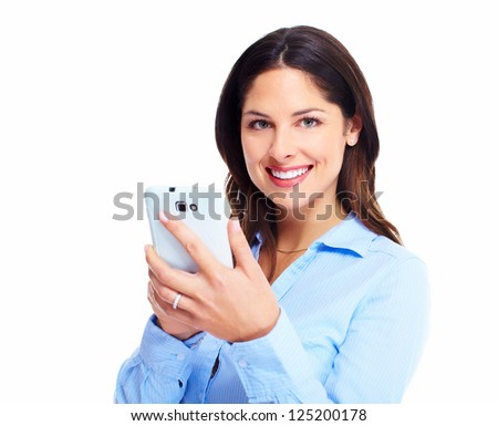 Woman with a cell phone. Isolated on white background. - stock photo