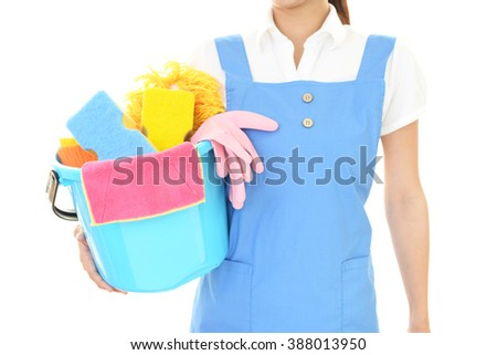 Woman with a cleaning tools - stock photo