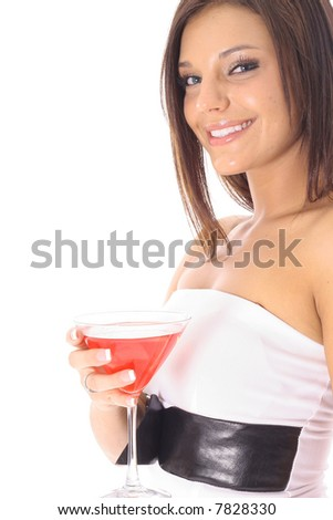 woman with a cocktail side - stock photo