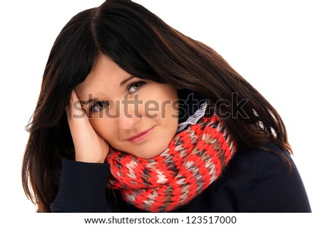 Woman with a cold and headache / flu epidemic - stock photo