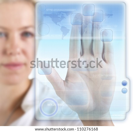 Woman with a digital informationfile - stock photo