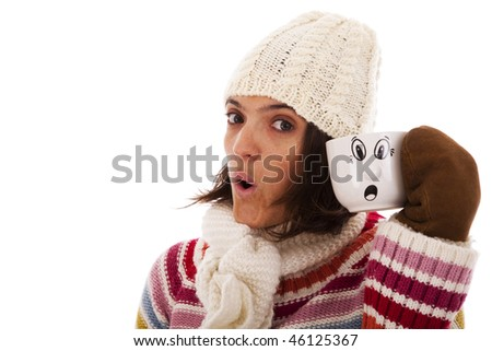 woman with a funny face like her hot drink cup (isolated on white) - stock photo