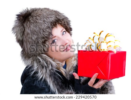 woman with a gift - stock photo