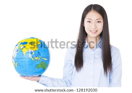 Woman with a globe