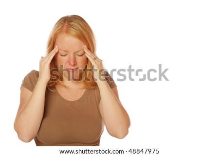 woman with a headache - stock photo