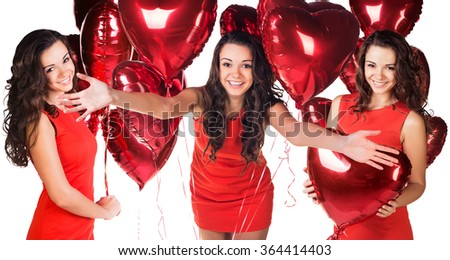 Woman with a heart-shaped balloon