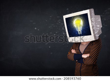 woman with a monitor head, no signal sign exploding out of the display - stock photo