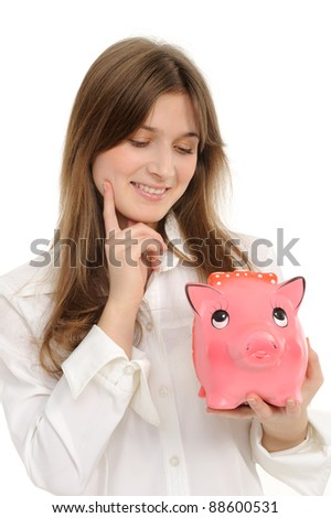 woman with a piggybank isolated on white  background