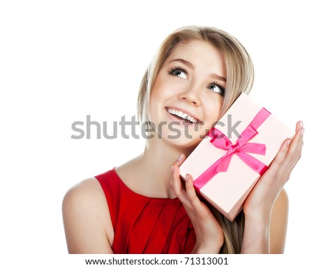 Woman with a present  isolated - stock photo