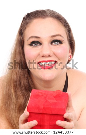 Woman with a red Valentine's box