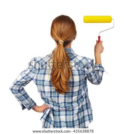 Woman with a roller. Isolated white background. - stock photo