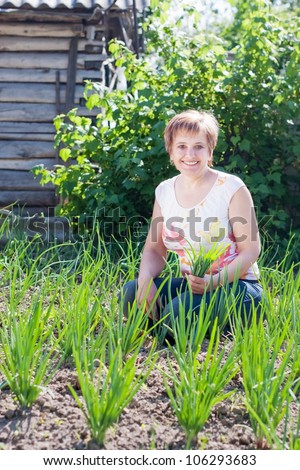 woman with a sheaf of young onions in her garden