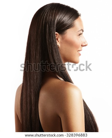 woman with a stright hair from back side