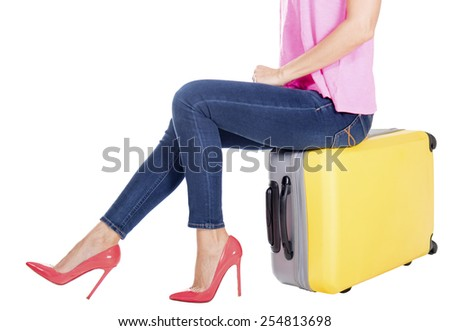 woman with a suitcase.  - stock photo
