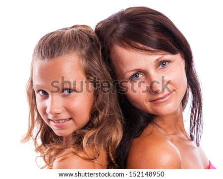 woman with a teenager were photographed on a white background