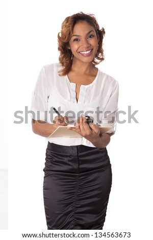 Woman with a warm smile eagerly waits to take notes, isolated on white background.
