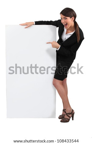 woman with a white board - stock photo