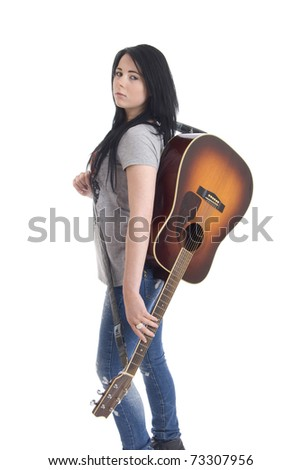 Woman with acoustic guitar - stock photo