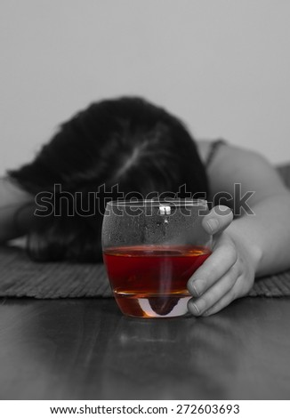 woman with alcohol addiction concept,shallow DOF
