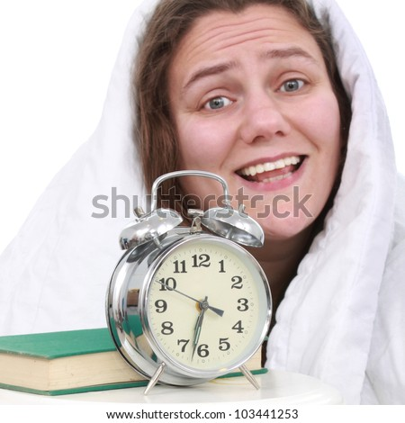 Woman with an alarm clock