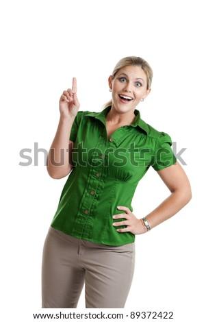 Woman with an idea portrait - stock photo