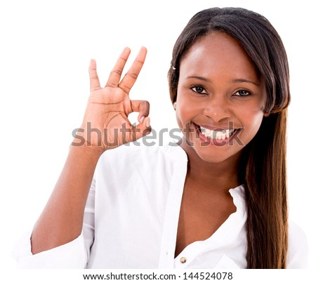 Woman with an ok sign - isolated over a white background - stock photo