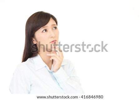 Woman with an uneasy look